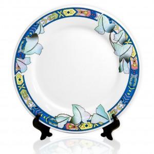 Тарелка белая сублимационная с разноцветным ободком d=20 (12,5 см - под нанесение)