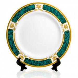 Тарелка керамическая с зеленым ободком, d=20 см