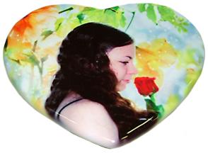 Печать на керамической плетке в форме сердца